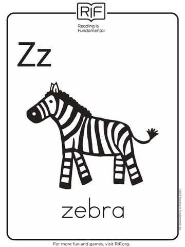 z is for zebra - Alphabet Coloring Pages For Kids