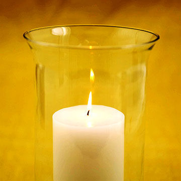 lit candle in hurricane