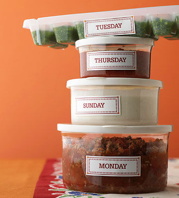 Stack of labeled containers