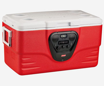 cooler with built-in radio and clock