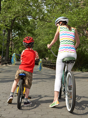 mother and son riding bikes