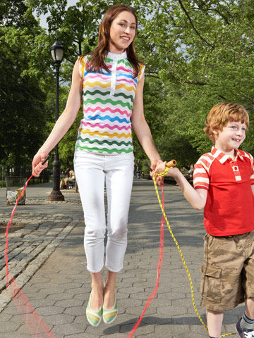 mother and son jumping rope