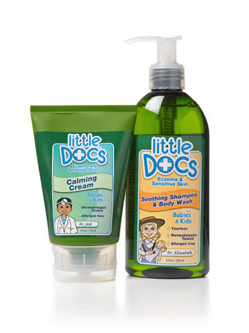 Little Docs shampoo and body wash and calming cream