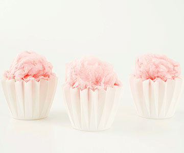 pink cotton candy in white cups