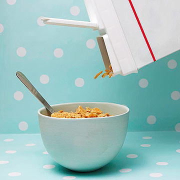 pouring bowl of cereal