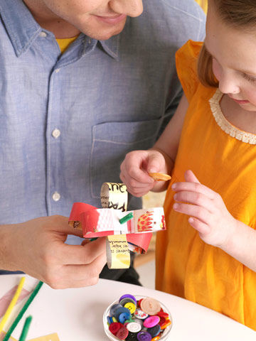 putting buttons on flower craft, step 3