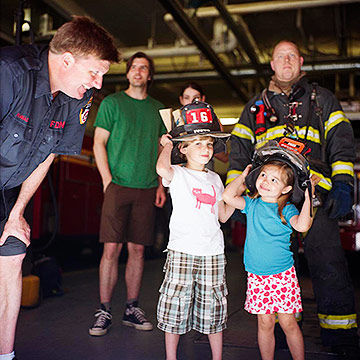 kids visiting a fire station