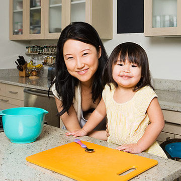 Mom and daughter in kitchen