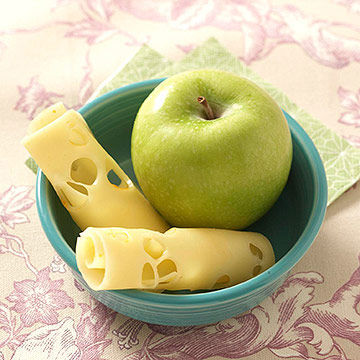 Swiss cheese and apple