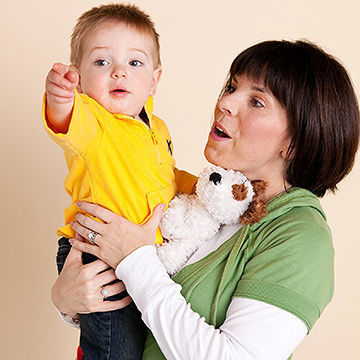 Toddler pointing to object