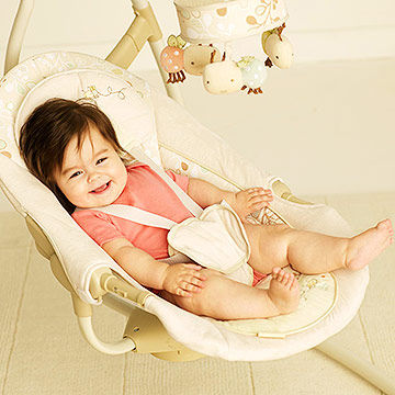 baby in bouncy seat