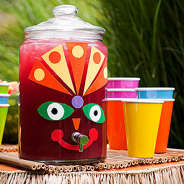 Tiki decal decorated drink dispenser