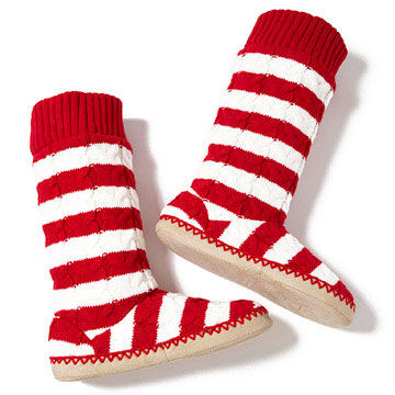 Striped slipper booties