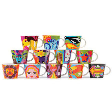 Colorful zodiac sign coffee cups