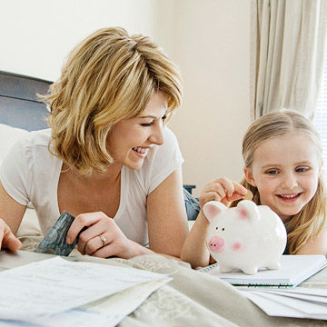 Mother working on finances