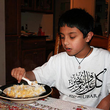 Daanish eating dinner