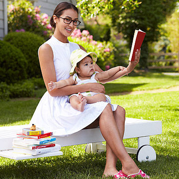 Mom with kid reading a book