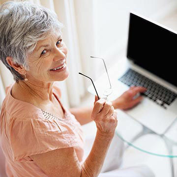 grandmother on her computer