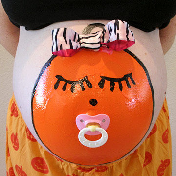 baby face painted belly - Pregnant Halloween Painted Bellies
