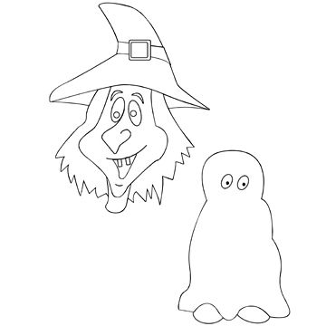 witch and ghost coloring page