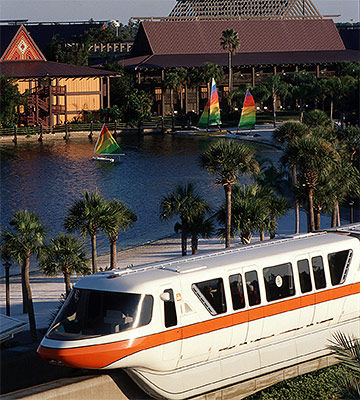Monorail with Polynesian in the background