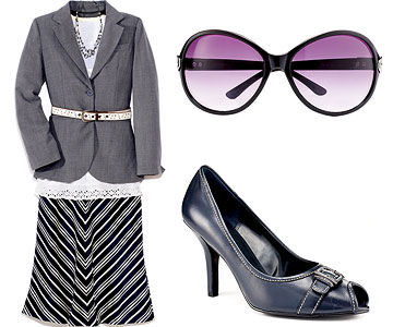 Gray Jacket/Black & White Skirt, Black Buckle Pump and sunglasses