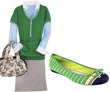 Green Top/Gray Skirt and Green Shoe