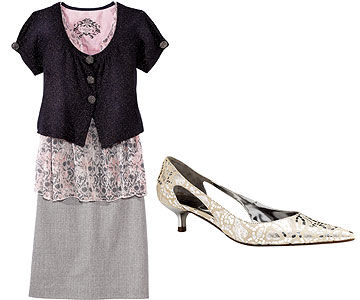 Sparkly Jacket/Gray Skirt and Metallic Shoe