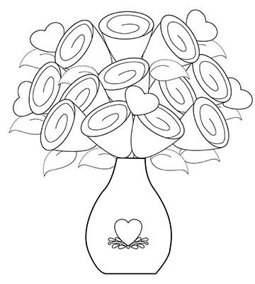 flowers in a vase coloring pages and print