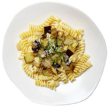 Pasta with Eggplant, Sweet Onion and Ricotta