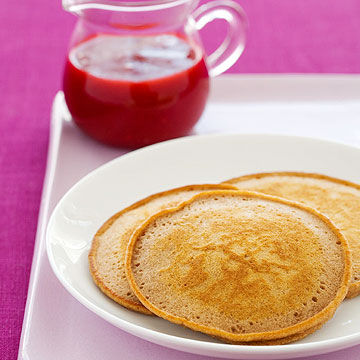 Chocolate-Hazelnut Pancakes with Raspberry Sauce