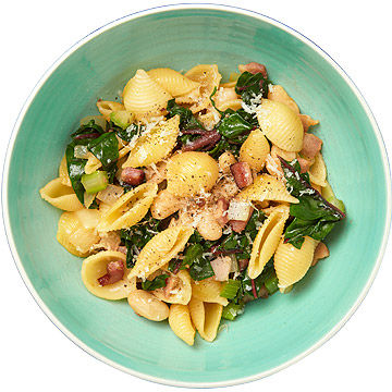 Shells With White Beans, Chard, and Bacon