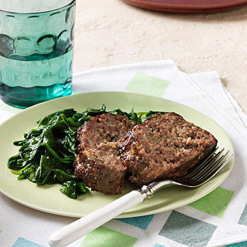 Parmesan-sage Meat Loaf and Garlicky Spinach