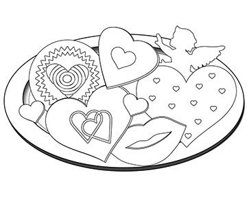 Valentine's Cookies Coloring Page