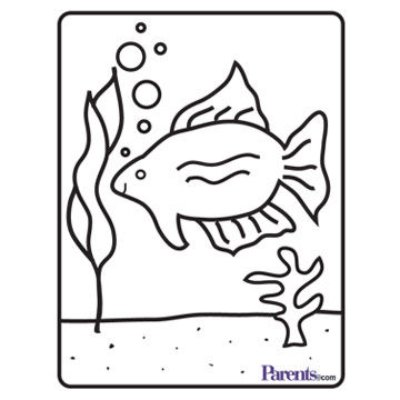 aquarium coloring book page
