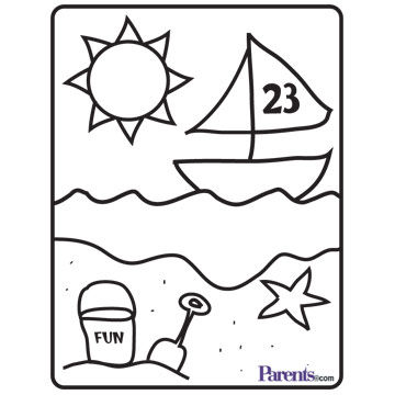 beach coloring book page