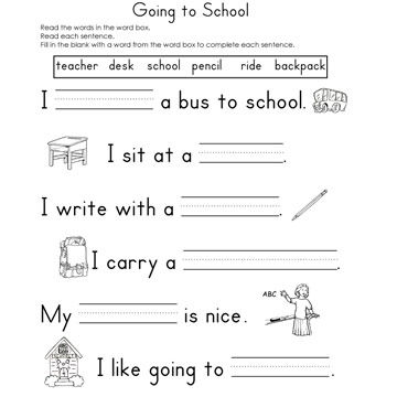 Going to School Fill-In-The-Blank Reading Worksheet