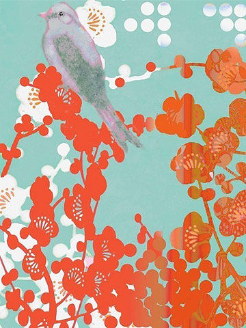 Bird and Dot Blossoms by Hadley Hutton