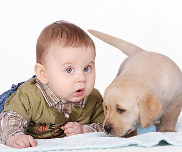 baby with puppy