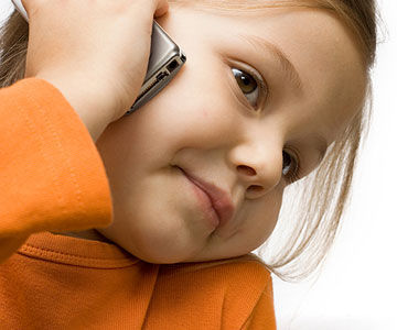 child talking on cell phone