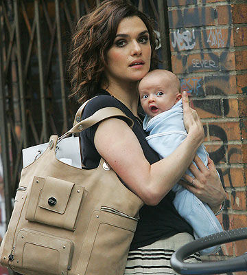 Rachel Weisz with her infant son, Henry Chance