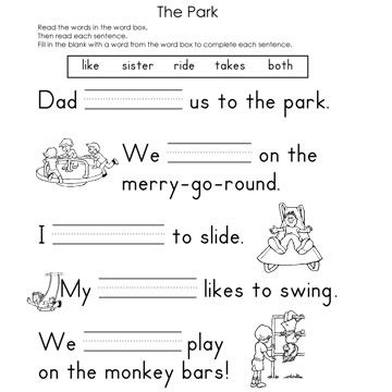 Printables Fill In The Blank Worksheets fill in the blank worksheets park reading worksheet