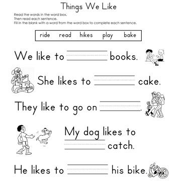 Worksheets Blank Worksheet fill in the blank worksheets things we like reading worksheet