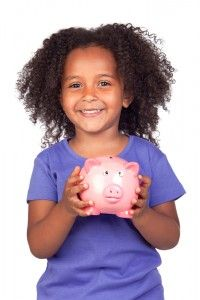 Kid with piggy bank
