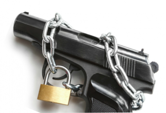 Gun with chain and padlock