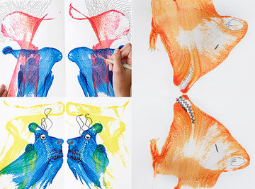 Seeing Double String Art Orange Blue Red Yellow Watercolors