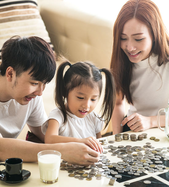 Doing Allowance Banner Asian Family Counting Coins On Table
