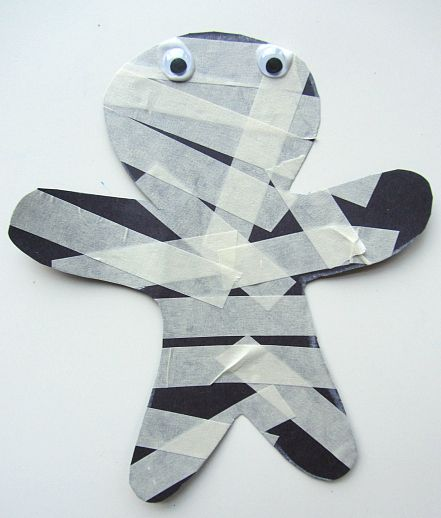 masking tape mummy - Halloween Crafts For Preschoolers Easy