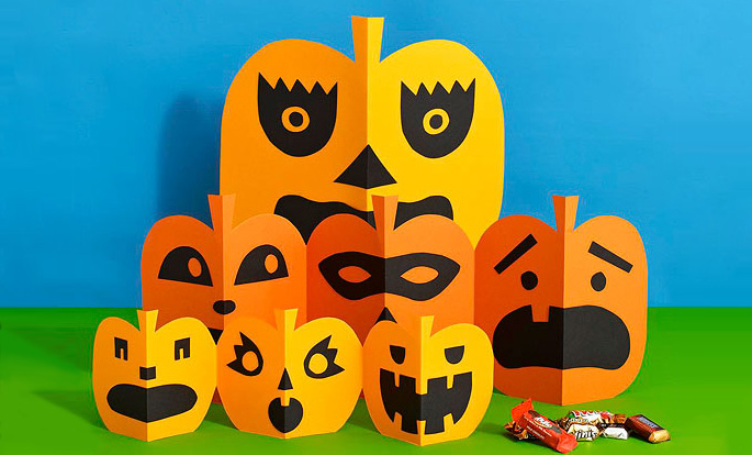 Halloween Kid Craft Paper Pumpkins