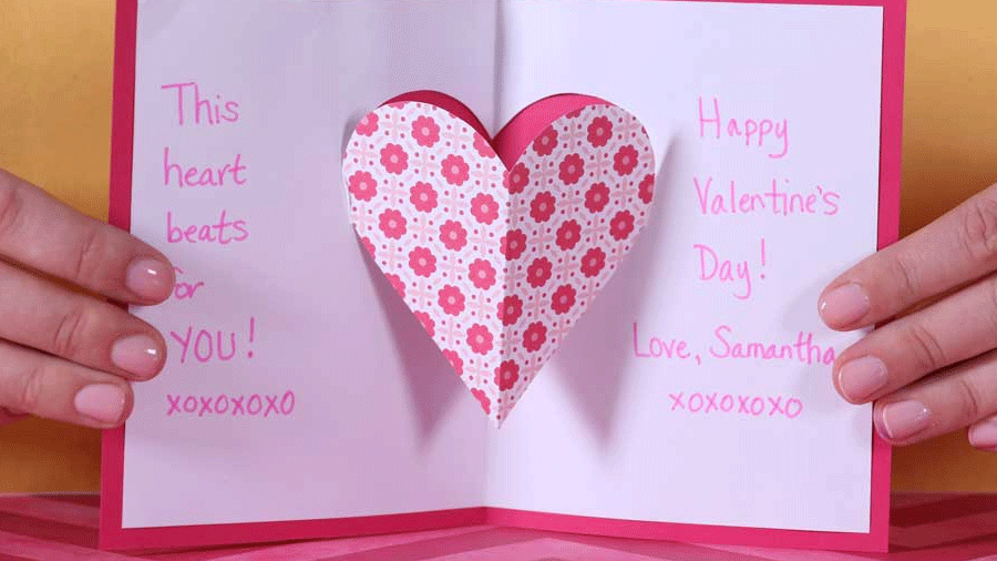 valentine's day heart pop-up card | parents, Ideas